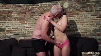 Grandpa gets his cock sucked and wet by beautif...