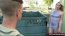 Tgirl gets her ass screwed by trash guys dick