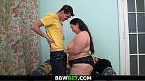 Huge ass plumper is tits-fucked before big cock ride