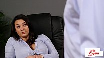 Classy babe instructs sub guy in her office