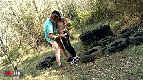 Spanish Luzy MISS  brunette hard fucking and squirting in the woods thumbnail