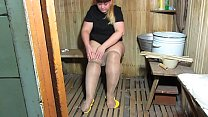 A young bbw with a big ass in nylon pantyhose d...