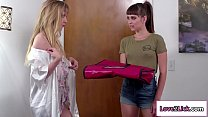 Hot lesbian licks pizza delivery girl