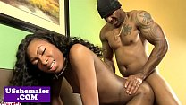 Nubian shemale buttfucked on couch porn image