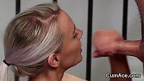 Nasty bombshell gets jizz shot on her face gulp...