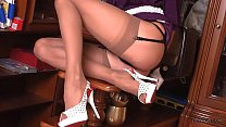 Leggy pinup blonde whore in sheer nude vintage stockings