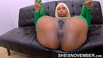 Open These Damn Legs Brat And Show Me This Pussy!!! Step Dad Forcing Thick Booty Black Daughter-in-law Msnovember To Spread Her Curvy Thighs In Stockings On Sheisnovember 4k صورة