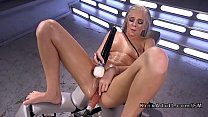 Intense squirting on fucking machine for blonde thumbnail