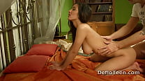 Aroused virgin Manon Artek gets pussy rubbed in doggy