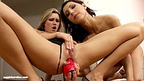 Anne and Cherry put two huge dildos to good use in Insane Dildoer by Sapphic Ero