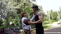 Horny mature teacher gets lucky with young teenager at the basketball court