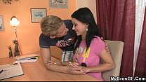 Hottie is seduced by her BF's bro thumbnail