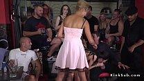 Petite brunette slave banged in public