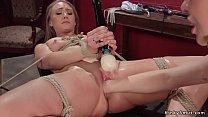Blonde Lesbian Whips Big Ass Slave