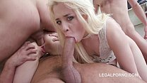 Greenvelle and tiny newcomer Anna Rey fuck 4 cocks in Savage mode. thumbnail