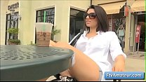 Horny brunette big tit brunette girl Darcie flash her big natural tits in different public places