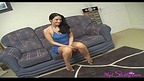 Horny brunette sucks and fucks on casting