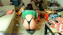 Milf gets a Christmas Wedgie