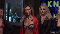 Babes get naked during a questioning game on a morning show Image