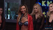 10990 Babes get naked during a questioning game on a morning show preview