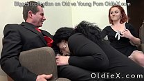 senior house owner enjoy old and young threesome's Thumb