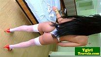 Latin tgirl Taissa Guimaraes dick plays pornhub video