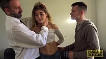 Skinny teen Rhiannon Ryder destroyed in DP threesome pornhub video