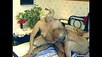 Hairy granny enjoys threesome video