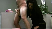 Lady boss handjobs employee only for his cum