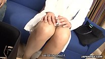Attractive Japanese saleswoman gets gangbanged and creampied by horny buyers image
