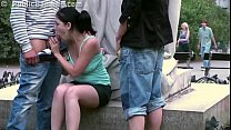 Cute young teenie is fucking in public by famous statue in threesome with 2 guys - Download mp4 XXX porn videos