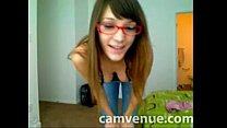 Geeky babe home strip on cam