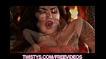 Stunning brunette Sunny Leone shows off her red lace panties video