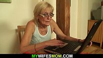 He fucks old mother-inlaw on the table porn thumbnail
