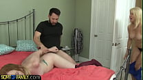 Nasty stepmilf gets off watching teen fuck