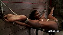 Ebony body builder tied up and vibed video