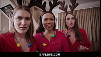 Teen Step Sister Dani Damzel & Best Friends Aria Kai & Adriana Maya Fuck Stepbrother On Christmas Morning