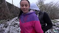 Freezing babe fucked on the snow by naughty str...