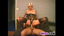 Blonde MILF Wearing Lingerie Wants Cock