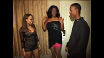 Two amazing ebony girls are doing lonely man on the big bed at home