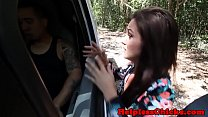 Petite teen dominated by fat cock in the van
