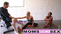 Mom teaches daughter her first time threesome