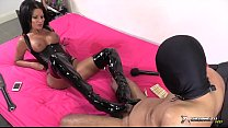 Two brunette sluts dominates their man sex slave pornhub video