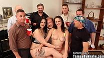 Sperm Swapping Stripper Sluts Bukkake Gangbang
