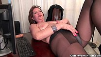 Old secretary Kelli strips off and fingers her hairy pussy thumbnail