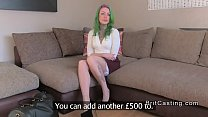 Green haired amateur anal fingered in casting