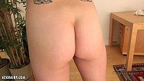 Image: Skinny blonde Verronica Kirei strokes her hairy pussy