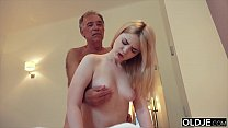 Nympho sucks grandpa cock and has sex with him ... Thumbnail