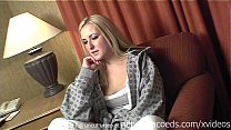 hot bleached blonde girl nervous for first video then naked in public Preview