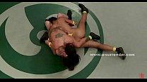 Sweaty lesbian fight on the wrestling